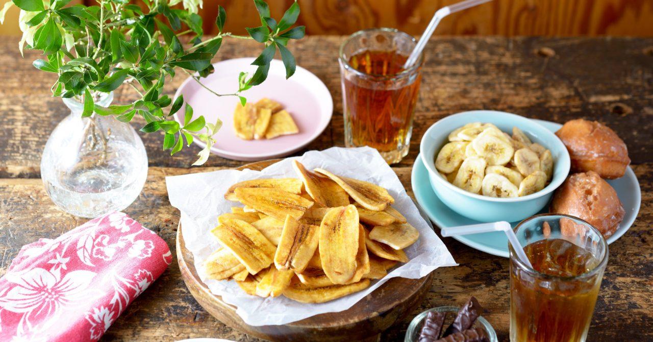 栄養満点のバナナチップス
